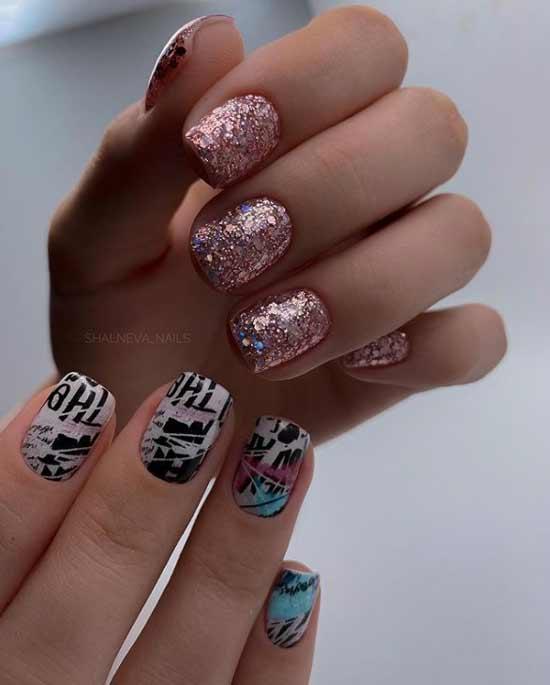 Stylish manicure with glitter photo