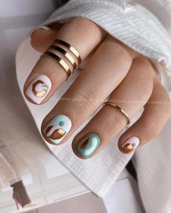 Stylish manicure with foil