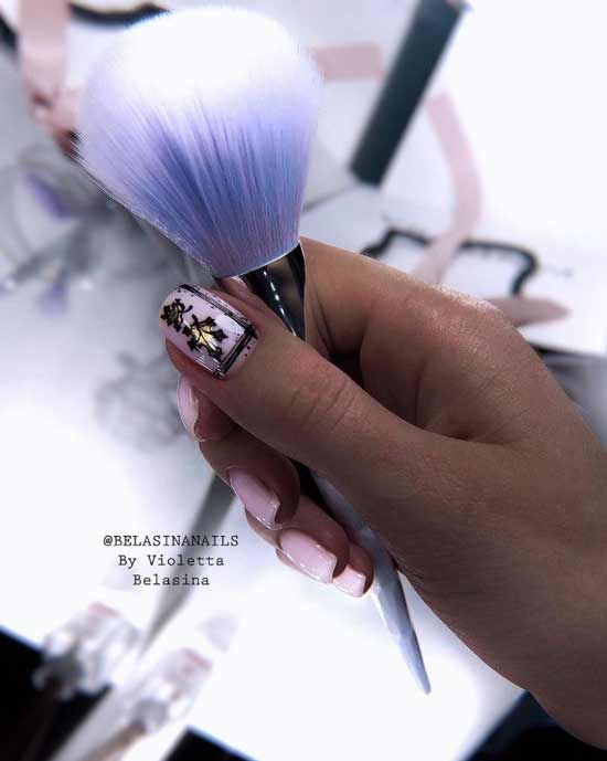 Autumn nail art on nails with gel varnish