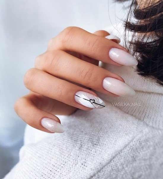 Beautiful milk manicure gel polish