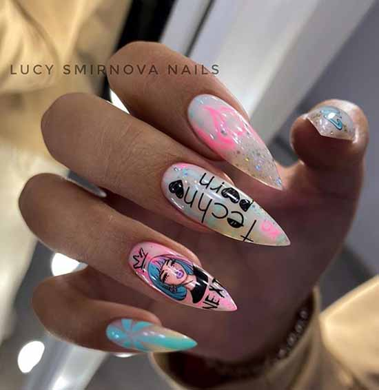 Manicure long nails with shellac