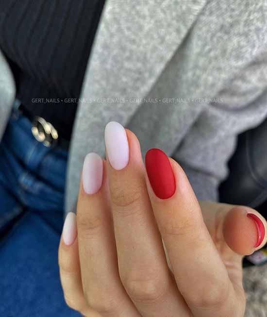 Milky red manicure gel polish