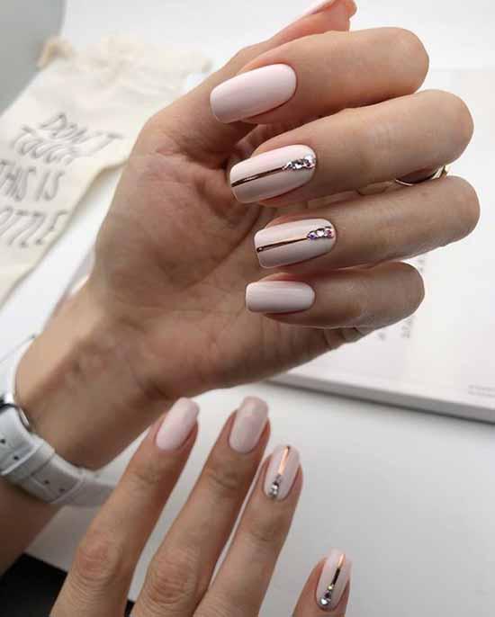 Beige gel polish on nails