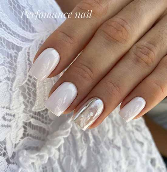 Manicure with rubbed square nails