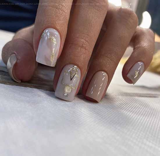 Festive nude manicure