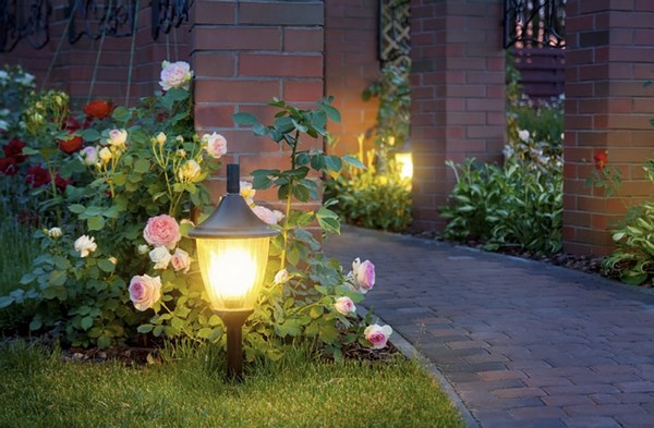 Decorative illumination of flower beds