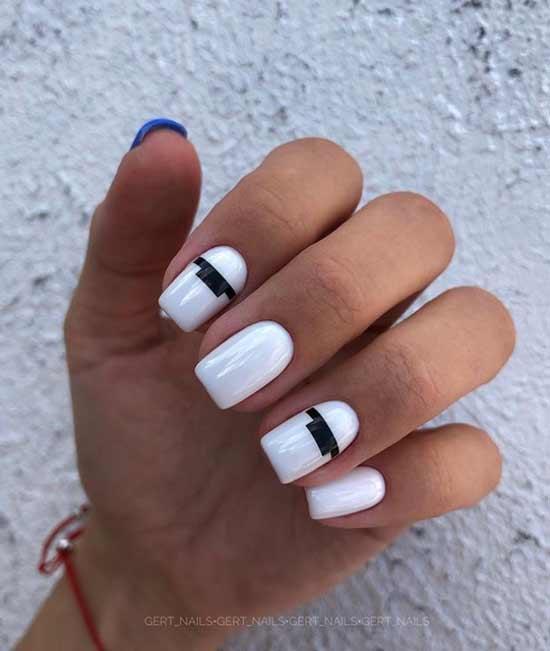 White with black stripes design