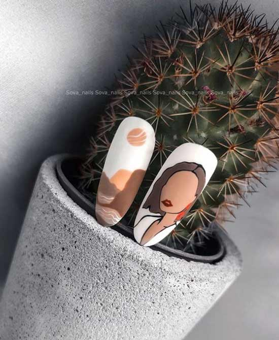 White manicure design with pattern photo