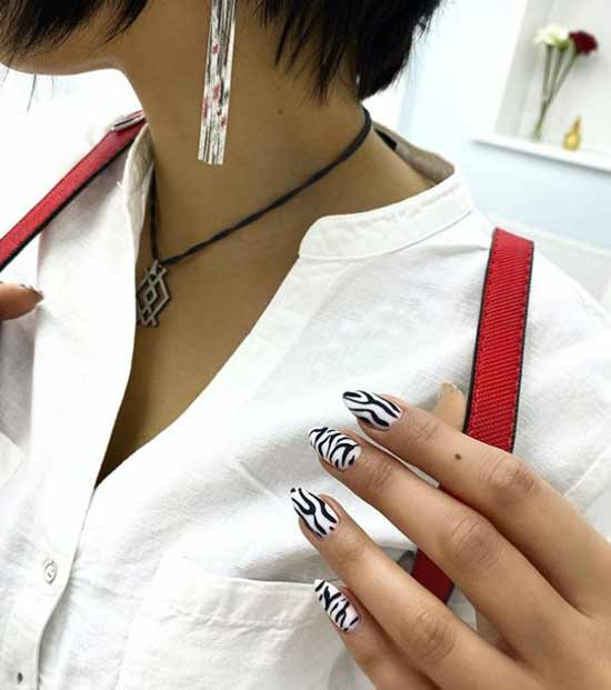 White manicure design with print