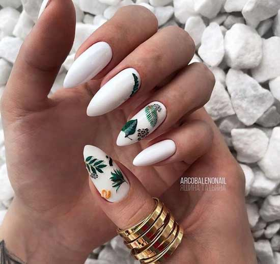 White almond manicure with drawings