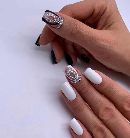 White manicure with different hands design
