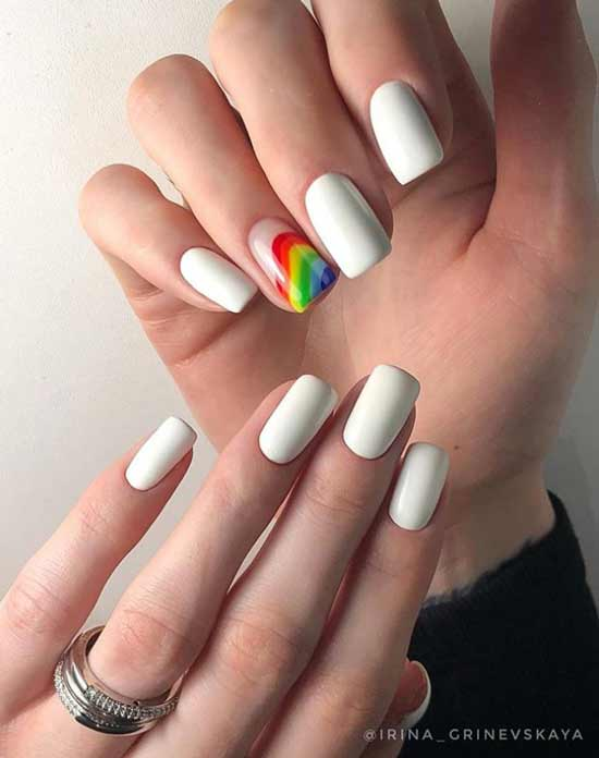 White manicure with neon rainbow