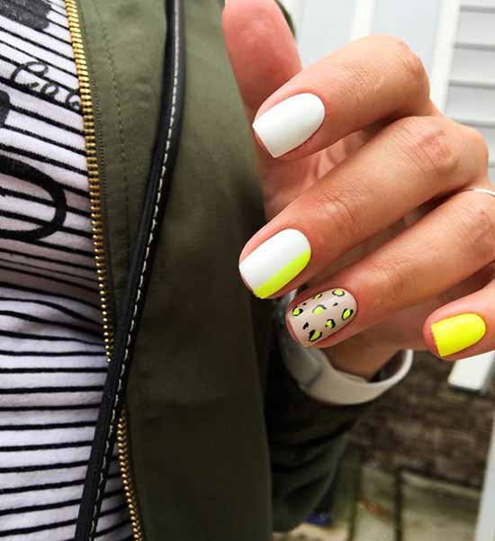 White nails with designs: new items, manicure ideas in the photo