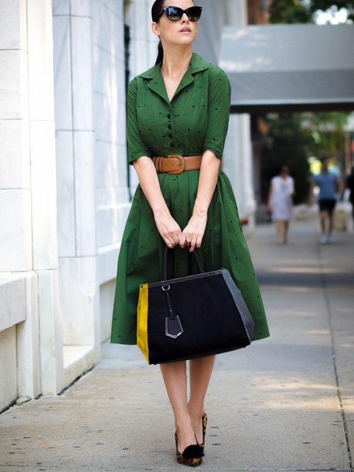 We transform into green.  The most beautiful green dresses