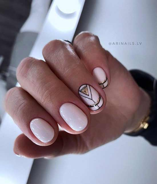 Geometric sequins short nails