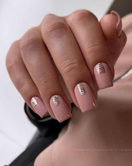 Homemade glitter strips on nails