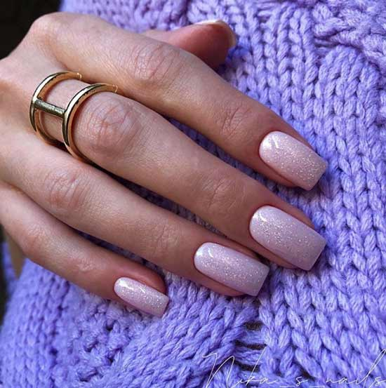 Photo nude manicure with glitter