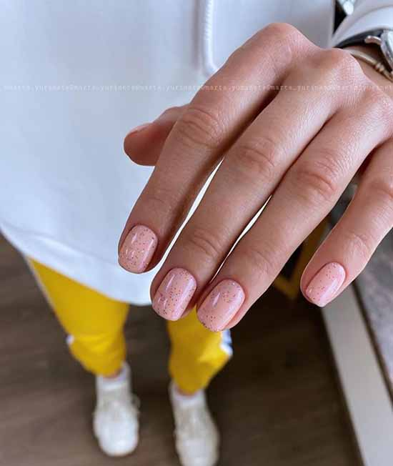 A selection of photos of nude manicure with sparkles