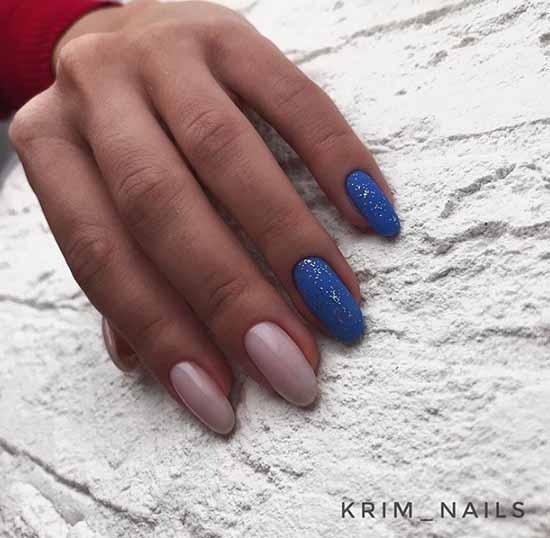 Nude blue glitter manicure