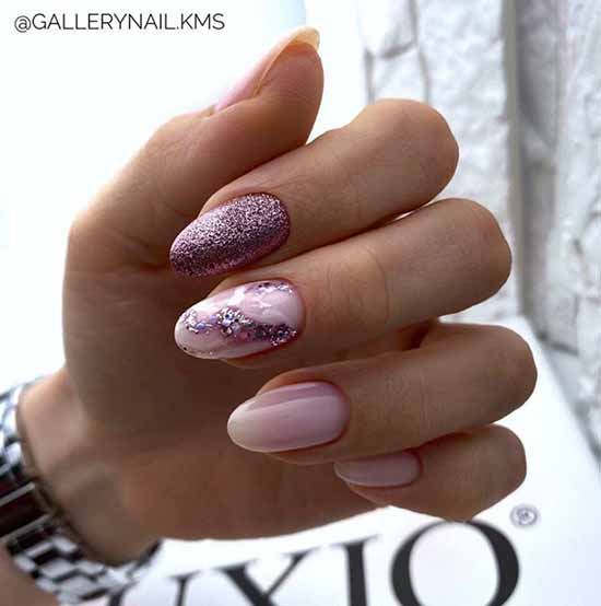 Nude manicure with sparkles: 100 design ideas in new photos