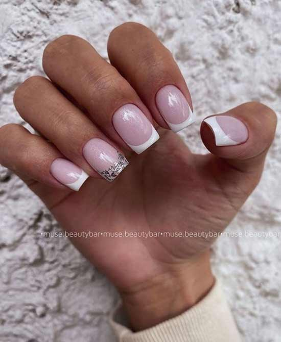 Silver glitter on nails