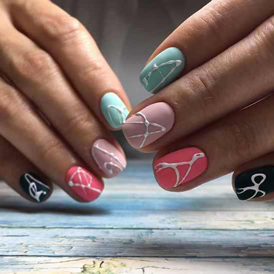 Matte nails spider web design