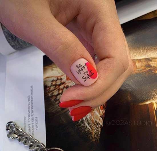 Red matte manicure