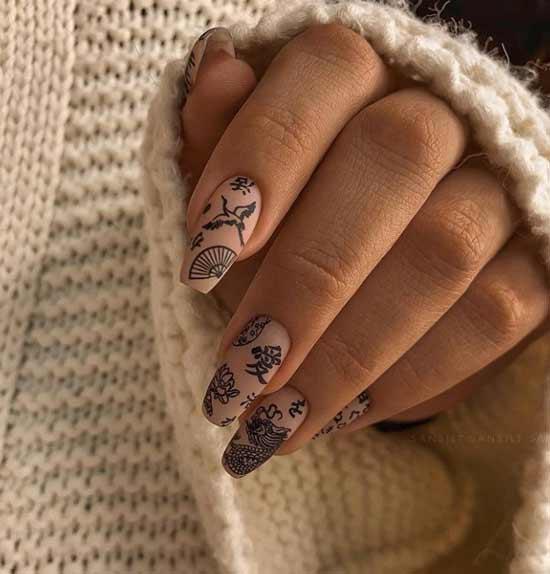 Beige matte nails with designs