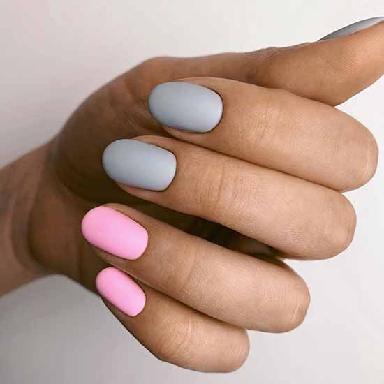 Gray + pink manicure
