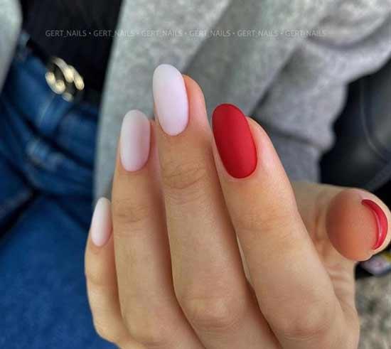 Matte multicolored manicure