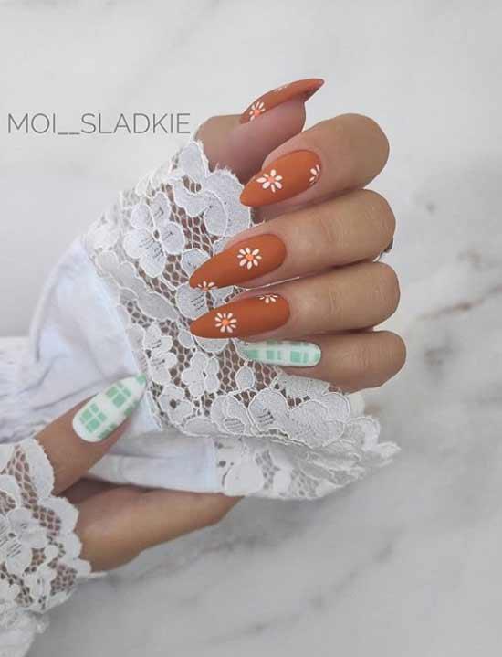 Long matte patterned nails