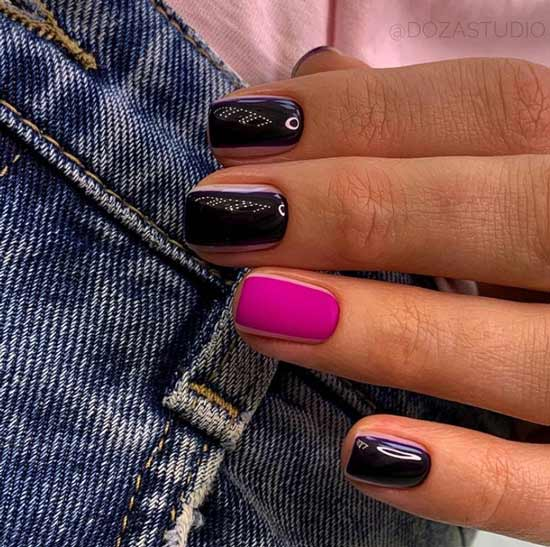 Matte and glossy manicure
