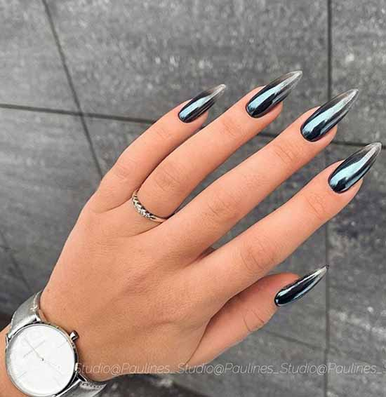 Black manicure with rubbing on long nails