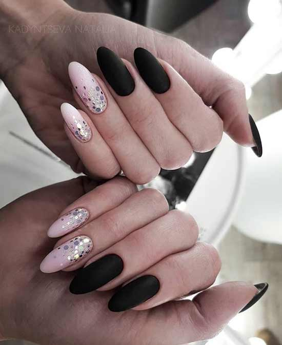 Black two-tone manicure