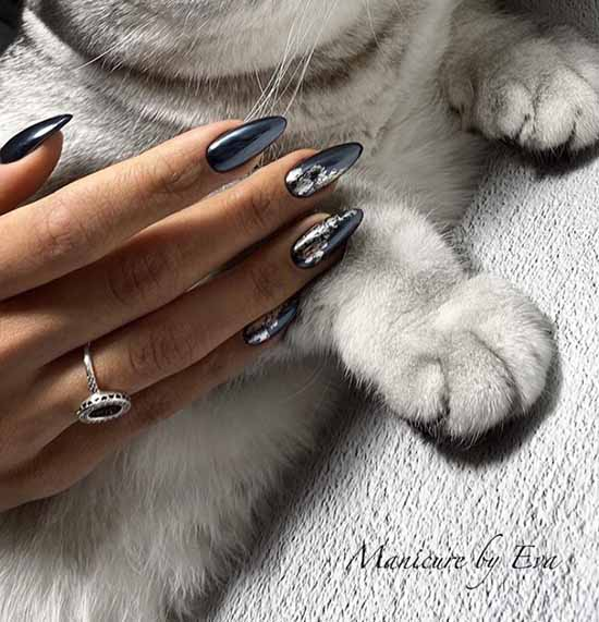 Black shiny manicure for long nails