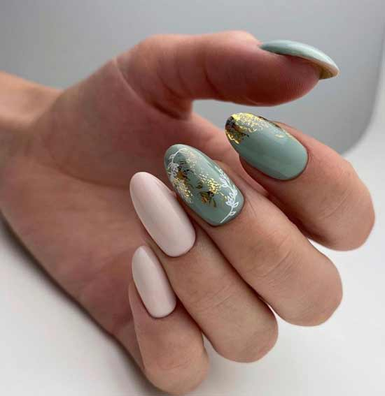 Beige-mint with foil