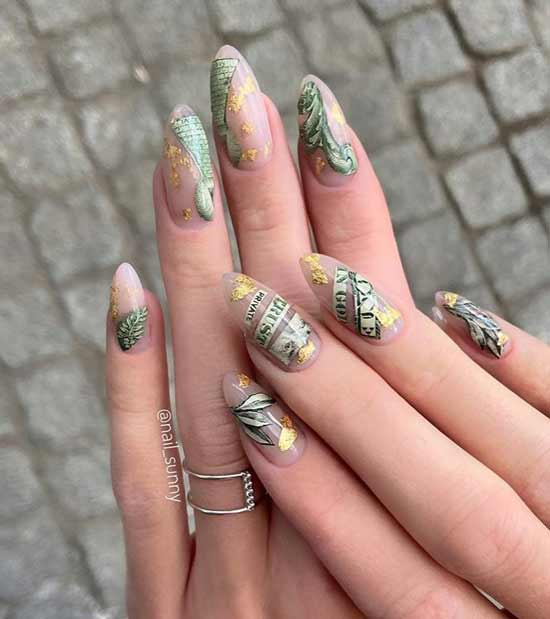 Foil on transparent nail cover