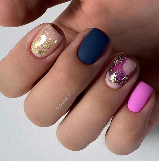 Multicolored nails with foil