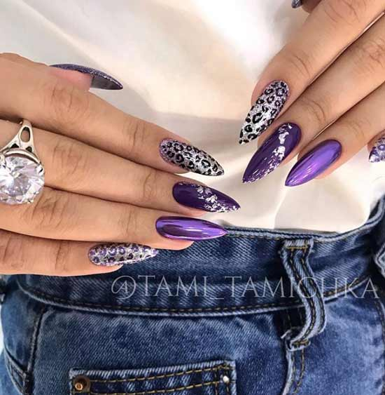 Purple manicure with foil and rub