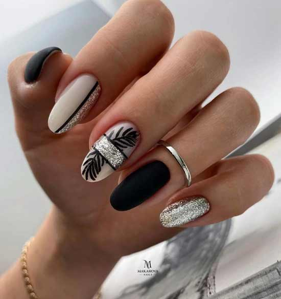 Black and silver manicure with foil