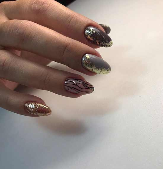 Combined manicure with foil