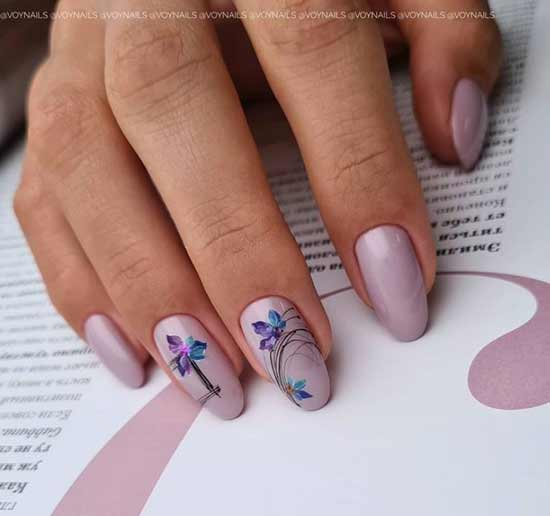 Delicate manicure with a spider web