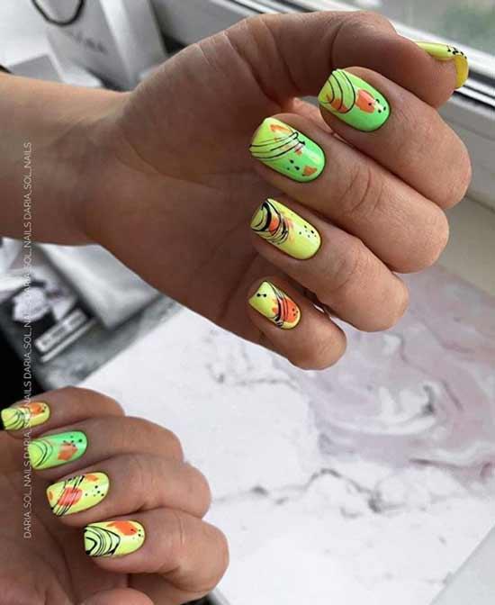 Spider web on nails bright design