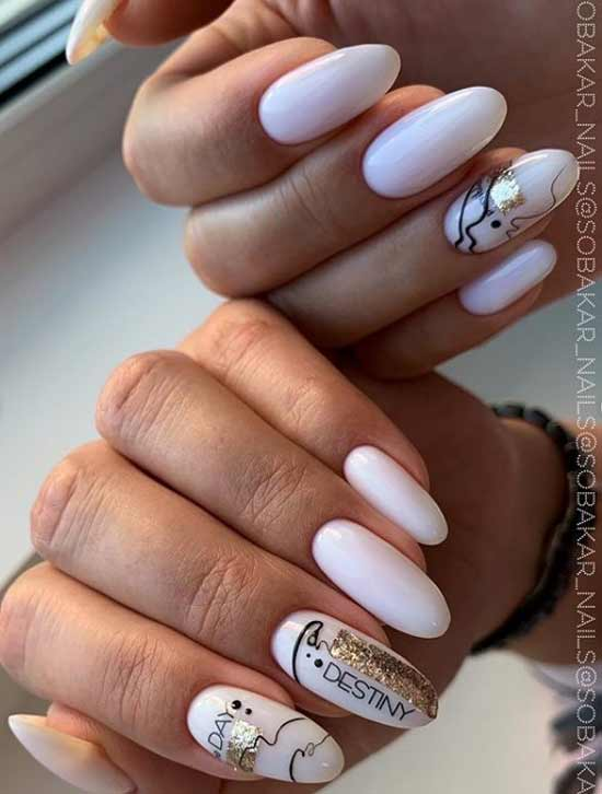Spider web and shiny stripes nail design