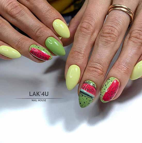 Nail design with fruits and spiderweb