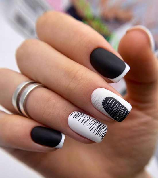 Black and white French short nails