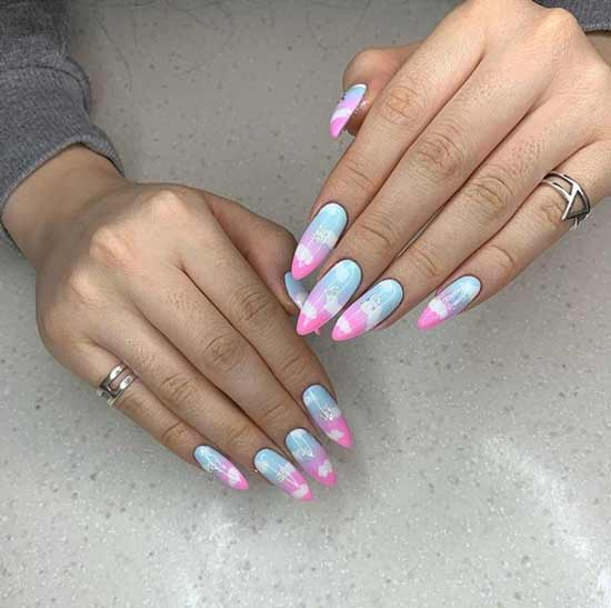 Stylish manicure with clouds