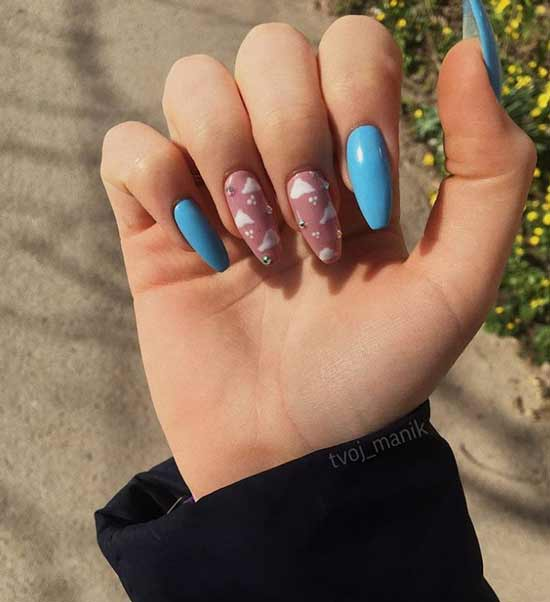 Two-tone nail art with clouds