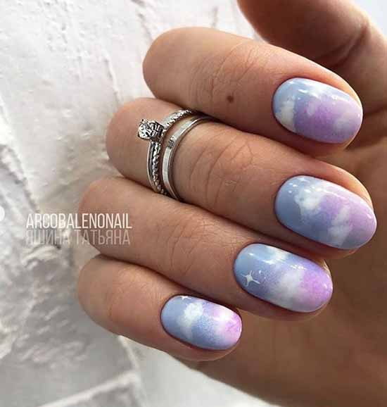 Gray-pink manicure with clouds