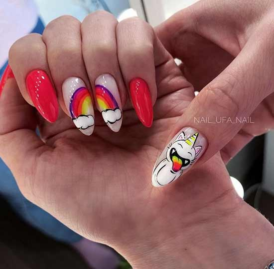 Nail design with clouds